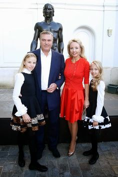 Prince Carlo of Bourbon-Two Sicilies, Duke of Castro, his wife Princess Camilla of Bourbon-Two Sicilies, Duchess of Castro and their daughters (L) Princess Maria Carolina, Duchess of Palermo and (R) Princess Maria Chiara, Duchess of Capri attend Museum Paul Belmondo celebrates its 5th Anniversary on 13.04.2015 in Boulogne-Billancourt, France.