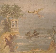 Mythological Landscape - The myth of Icarus. Daedalus is still flying white the body of his son lies on the ground in a landscaped setting. The line of horizon is high, and there are no spectators. From Pompeii. Naples, Archaeological Museum