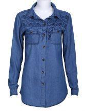 Blue Long Sleeve Embroidery Pockets Denim Blouse $22.26 #SheInside