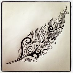 Feather (or other) with personal motifs More  plume  http://tattooforideas.com/wp-content/uploads/2018/01/plume-ou-autre-garnie-de-motifs-persos.jpg