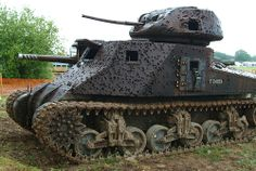 American made M3 Grant tank. WWII fighting tank. Now a practice target. Still serving as best it can.