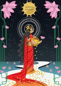 Goddess Lakshmi by scribbletalk on DeviantArt Indian Goddess, Goddess Art, Saraswati Goddess, Saraswati Mata, Indian Folk Art, Madhubani Painting, Indian Art Paintings, Hindu Deities, Hindu Art