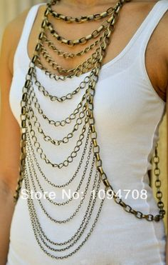 Anticopper Rope Ladder Drape Necklace Body Chain Jewelry Harness Chainmail BC 088 Free Shipping-in Chain Necklaces from Jewelry on Aliexpres...