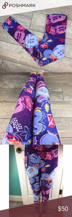 •new• Disney Lularoe Leggings OS Disney Lularoe Leggings with Adorable Mickey / Minnie Mouse Print. Perfect for your upcoming Walt Disney World or Disneyland Vacation.   * Size OS * No Pilling  * No Pulls  * No Stains   * Never Worn * Made in Vietnam  * Colors : Purple Background with Light Purple, Royal Blue, Light Blue, Yellow, Red, & Black Pattern   No Trades No Mercari No Off Posh Sales Crazy Low Offers Will Be Declined LuLaRoe Pants Leggings