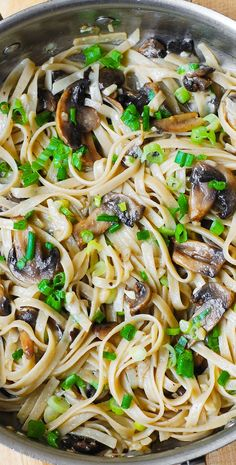 Garlic Mushroom Fettuccine Pasta. Smothered in butter and shredded Parmesan: simple, 30-minute meal