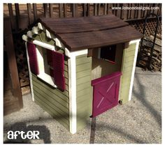 A different kind of design project – L. Little Tykes Playhouse, Little Tikes Makeover, Kids Play Equipment, Backyard Playset, Design Projects, Diy Projects, House Makeovers, Kids Things To Do, Backyard For Kids