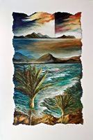 NZ Coastal art with a Maori Heritage influence. These coastal landscapes are worked in oil on canvas, paper or linen often with torn edges depicting the rugged nz coast. View at his Nelson gallery or online. New Zealand Landscape, Coastal Art, Oil On Canvas, Art Gallery, Strong, Contemporary, Artist, Maori, Art Museum