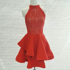 Gorgeous Red Dress Structured lace top dress. Fit and flare dress! Perfect for any occasion! Let me know which size you want in the comments! Images courtesy of Tea and Cup. Great quality, full skirt! Stand out at your event, regardless of it being Prom, evening date or wedding reception! Tea and Cup Dresses