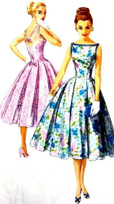 """Vintage 1950's Sewing Pattern Pretty Low V Back Prom Ballgown Dress Bust 31.5"""""""