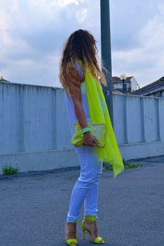 White & neon yellow
