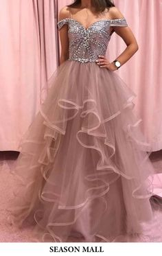 Buy Elegant Rhinestones Layered Off the Shoulder Prom Dresses, Rose Pink Tulle Party Dresses online.Shop short long ombre prom, homecoming, bridesmaid evening dresses at Couture Candy Cocktail party dresses, formal ball gowns in ombre colors. A Line Prom Dresses, Tulle Prom Dress, Cheap Prom Dresses, Prom Party Dresses, Formal Evening Dresses, Mermaid Dresses, Dress Formal, Elegant Dresses, Wedding Dresses