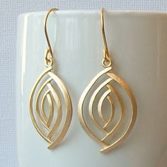 Gold Almond Dangle Earrings by PeriniDesigns on Etsy, $18.00
