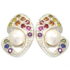 Rainbow Sapphire & Pearl Majestic Queens Earring #earrings #jewelry #pearls