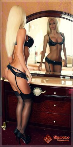 sexy blonde mirror hot lingerie