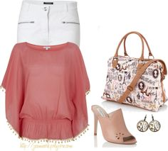 www.forarealwoman.com  Simple outfit: Leather mule shoes, coral kaftan, white jeans, shopper bag and paris print