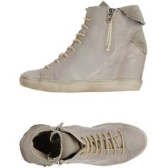 Cafènoir High-tops & Trainers ($57) ❤ liked on Polyvore featuring shoes, sneakers, grey, lace up sneakers, leather sneakers, leather wedge sneakers, wedge sneakers and high top shoes