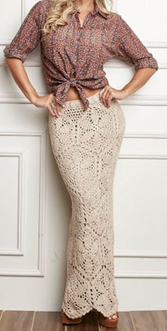 Crochet Designs Free: How beautiful. Long skirt crochet nude motifs with graphic and step by step. Wonderful