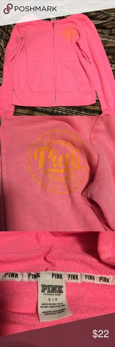 Victoria Secret pink zip up hoodie with pockets Pink zip up hoodie with pockets. In gently used condition. Size small...Smoke free home PINK Tops Sweatshirts & Hoodies