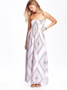 Old Navy Patterned Chiffon Tube Maxi Dress | Community Post: 23 Super-Cute Dresses You Can Rock Without Breaking The Bank