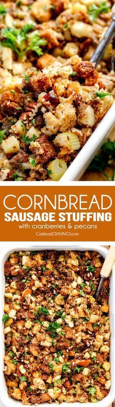 Thanksgiving Cornbread Sausage Stuffing (Dressing) with dried cranberries, apples and pecans is destined to become your new go-to recipe!! The wonderfully savory, buttery herb infused stuffing is moist, flavorful, easy and absolutely addicting! via @carlsbadcraving