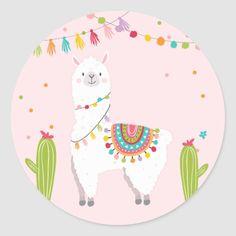 Llama Sticker Llama birthday Alpaca Fiesta Mexican ♥ Your own Thank You Sticker, Cupcake Topper, Favor Tag or Envelope Seal! Alpacas, First Communion Favors, Llama Birthday, Llama Alpaca, Cute Llama, Mexican Party, Thank You Stickers, Round Stickers, Custom Stickers