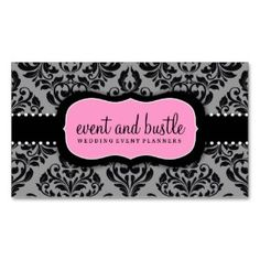 Elegant black white pink damask business cards pink damask damask bakery business cards google search reheart Gallery
