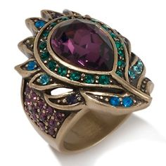 "Heidi Daus ""Pretty as Peacock"" Pear Round Crystal Ring Jewelry Box, Jewelery, Vintage Jewelry, Jewelry Accessories, Jewelry Design, Jewelry Rings, Peacock Ring, Peacock Jewelry, Feather Ring"