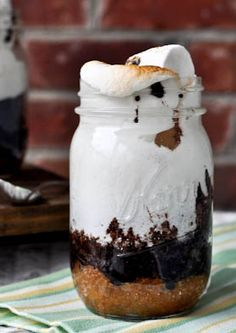 S'mores Cake in a Jar | howsweeteats.com