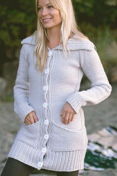Knitting pattern for Inland Sweater - #ad Long sleeved cardigan knits up fast in chunky yarn. A reverse stockinette stitch body is divided by figure-slimming ribbing along the sides and front bands. The tunic length and afterthought pockets up the comfy factor on this roomy top-down cardigan. FINISHED MEASUREMENTS  28.25 (31, 32.25, 35, 36.25, 39, 41, 43.75, 45, 47, 48.25) inch bust