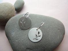 Sterling silver Leaf Earrings. Leaves Silhouette by LaurelOBrien, $43.00