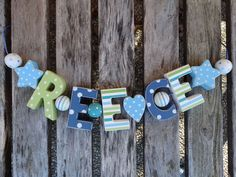 """REECE"" WOODEN WALL LETTERS LETTER DOOR NAME BABY SHOWER DECORATION SHABBY CHIC  #NicetoHave"