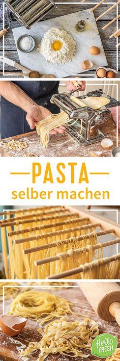 So einfach kannst Du Pasta selber machen!   Zutaten 500 g italienisches Pastamehl  6 Eier  5 g Salz  2 EL Olivenöl