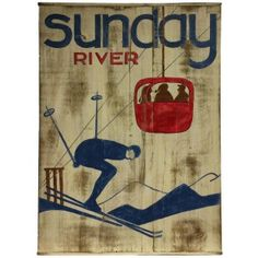 Sunday River Vintage Wood Ski Sign
