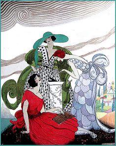 Vintage Vogue Illustration-3 Ladies and a Sundial