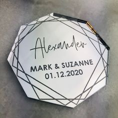 Mirror Acrylic Table Names, Octagon Personalised Place Setting, Wedding Place Name, Laser Engraved Place Card Wedding Place Names, Wedding Places, Bespoke Design, Custom Design, Octagon Mirror, Acrylic Table, Used Vinyl, Place Settings, Laser Engraving
