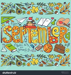 """Illustration of the month """"SEPTEMBER"""" hand-drawn in vector. Image can be used for web site background, on banners, invitations, print, poster and on your other designs."""