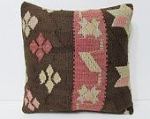 urban fabric 18x18 extra large pillow cover kilim pillow coral decorative pillow brown throw pillow outdoor pillow cover floral pillow 23322