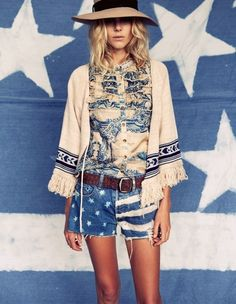 boho,denim shorts, blue, paisley shirt, fringe jacket,