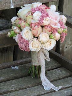 Blush wedding bouquet, uppersecret roses, bombastic spray roses, rice flower