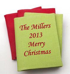 #Christmas #Gift Photo album / Brag book . #Customized . Monotype Corsiva font . Linen