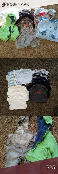 Large bundle of 6-9 month Lot of 6-9 month boy clothes. All excellent or like new condition. Includes everything you see including onesies, fleece PJs, overalls, and jackets.   Disclaimer, one of the fleece pajamas has a broken snap. See last pic, it does not affect the wearability of the garment.   Smoke-free cat friendly home, freshly laundered before shipping to reduce any cat dander   Gerber, Carter's, just one year, osh kosh etc Gerber Other