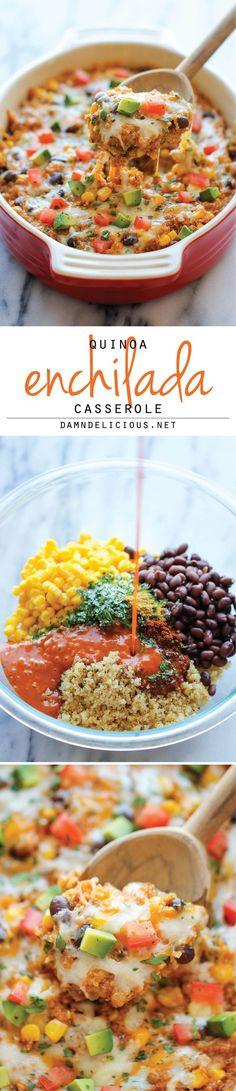 A vegetarian, healthy, quinoa enchilada casserole recipe.