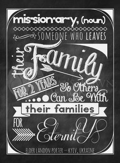 The chalkboard missionary printable I made for my brother, you can order it customized for any missionary you know!