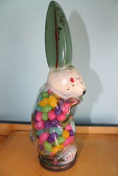 Large Glass Rabbit Candy Container