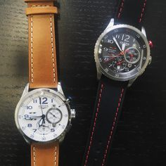 Light or dark? Which do you prefer? In either colour the Vulcain aviator instrument chronograph is simply timeless. #watch #pageandcooper #watches #watchcollector #Vulcain