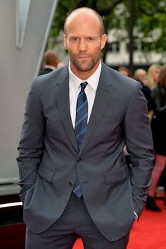 Jason Statham #suits up in gray Burberry - Spy UK Premiere