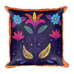 Decorative Pillow - Pillow - Pillow Cover - Throw Pillow - Accent Pillow - Multicolor Flowers Pillow
