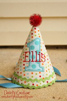 Boys 1st Birthday Party Hat - Corduroy dots in red, aqua, orange, and green - Free personalization