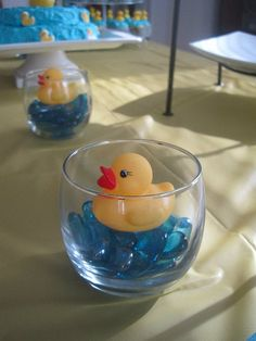 rubber ducky centerpiece (blue glass rocks, marbles)