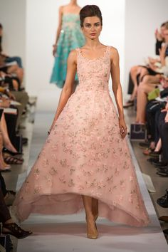 OSCAR DE LA RENTA S2013RTW wedding dress, high-low ball gown, pink LOVE, gorgeous